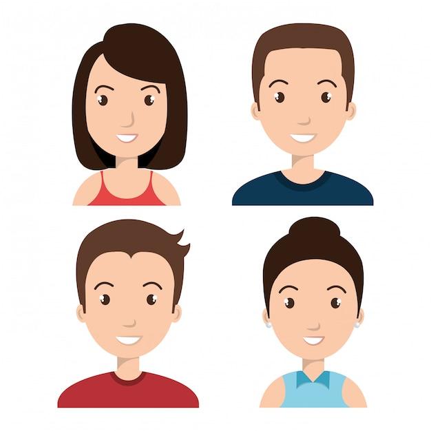 Avatares personas diseñan vector gratuito