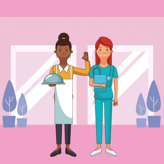 Avatares de profesion y ocupacion femenina Vector Premium