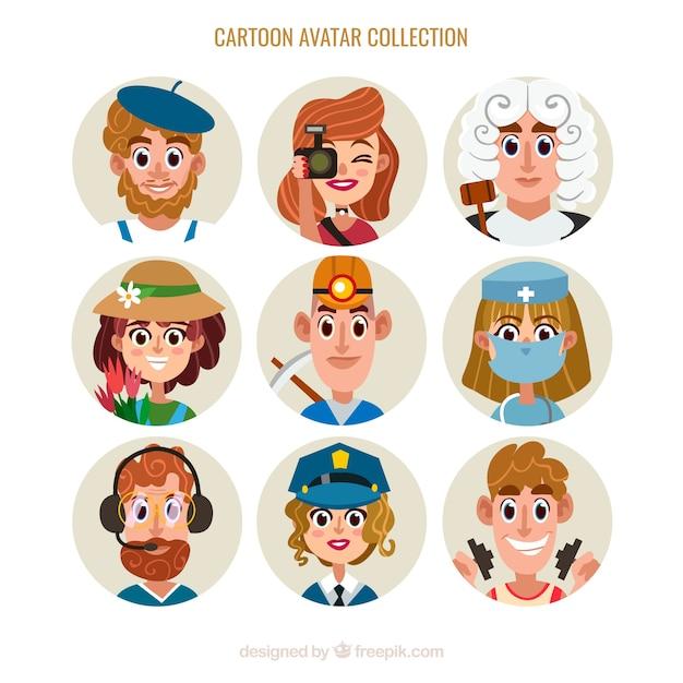 Pack de avatares de profesiones de dibujo animado | descargar.