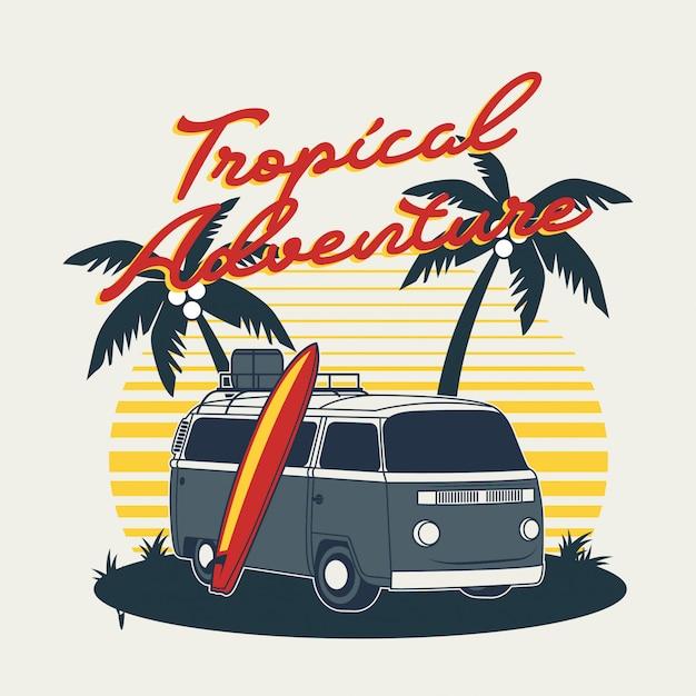 Aventura tropical Vector Premium