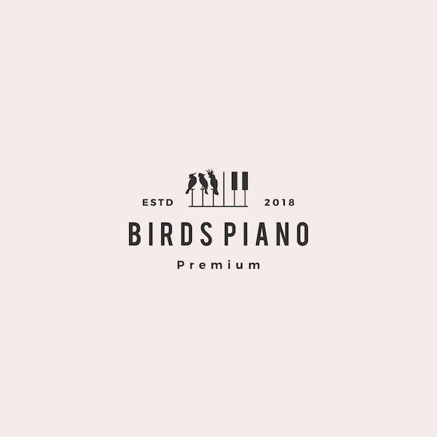 Aves de competencia piano música curso evento logo vector icono ilustración Vector Premium
