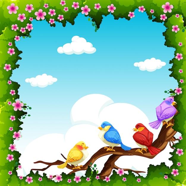 Aves en la rama durante el día vector gratuito