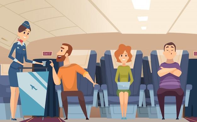 Avia pasajeros. azafata de embarque ofrece comida al hombre sentado en el fondo de dibujos animados de tablero de avión Vector Premium