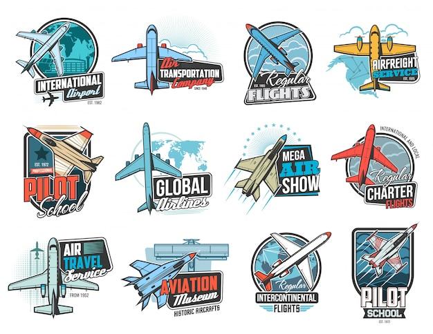 Aviación, iconos de vuelo aéreo, escuela de piloto de avión Vector Premium