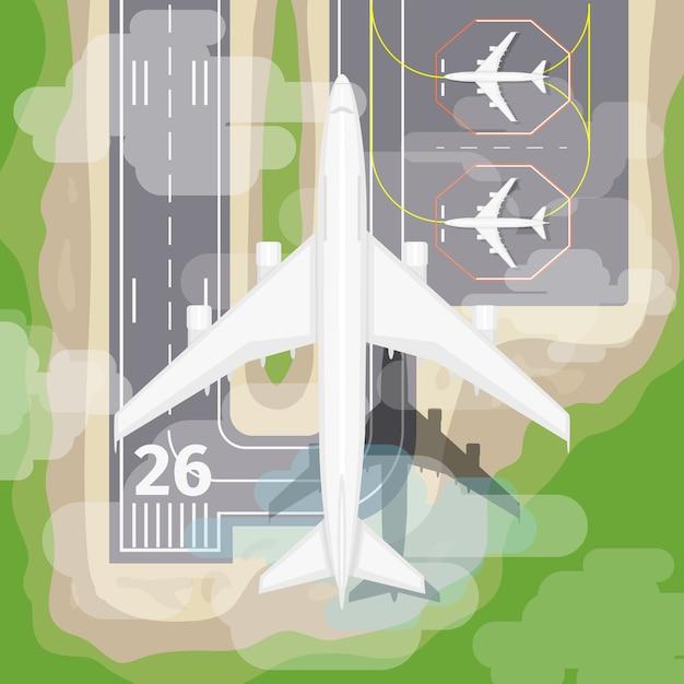 Avión de aterrizaje. transporte al aeropuerto, aviación en el cielo, ilustración vectorial vector gratuito