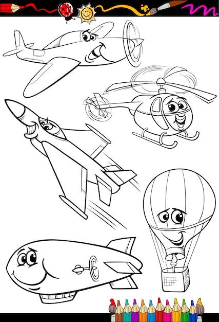 Avión de dibujos animados para colorear libro   Descargar Vectores ...