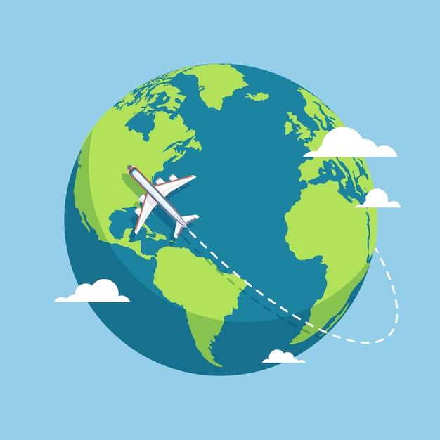 Avión Y Globo Aviones Volando Alrededor Del Planeta Tierra Con Continentes Y Océanos Ilustración Vectorial Plana Vector Premium