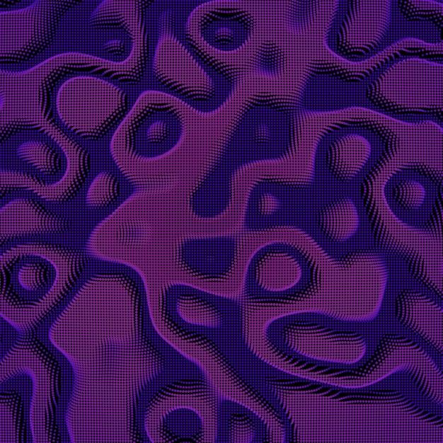 Avión de malla distorsionada colorido violeta abstracto sobre fondo oscuro. tarjeta de estilo futurista. elegante fondo para presentaciones de negocios. plano de punto dañado. estética del caos. vector gratuito