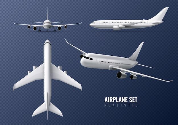 Avión de pasajeros conjunto realista en transparente con aviones en diferentes puntos de vista aislado vector gratuito