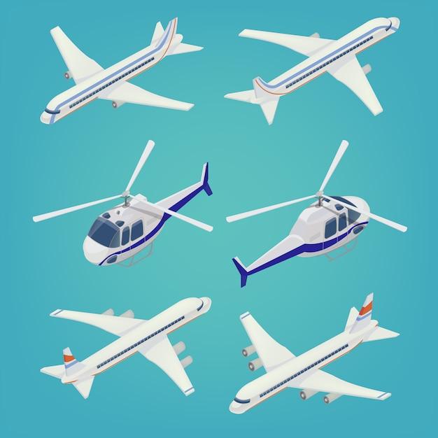 Avión de pasajeros. helicóptero de pasajeros. transporte isométrico vehículo de aeronave. Vector Premium