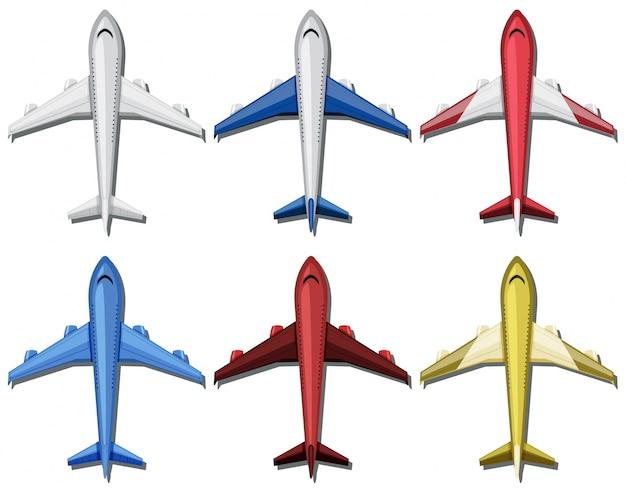 Avión con seis colores diferentes   Descargar Vectores Premium