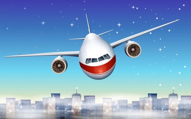 Un avión sobre la ciudad. vector gratuito