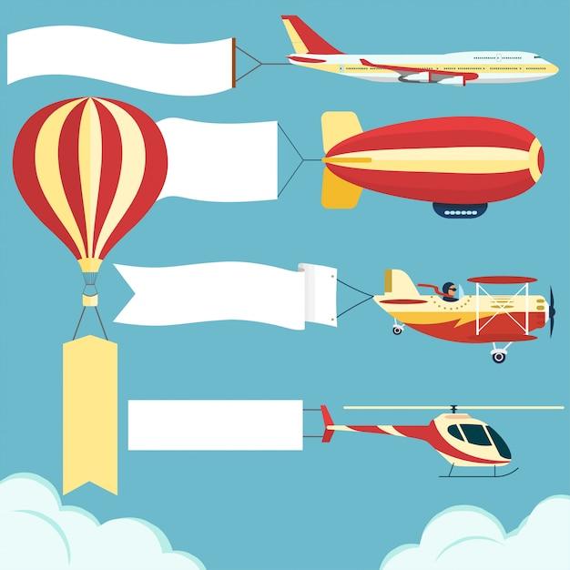 Avión con tablero en blanco Vector Premium