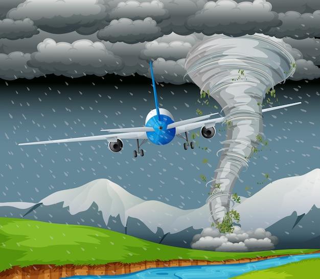 Avión volando con mal tiempo vector gratuito