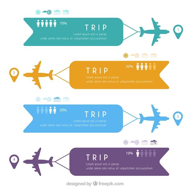 Aviones con banners de colores vector gratuito