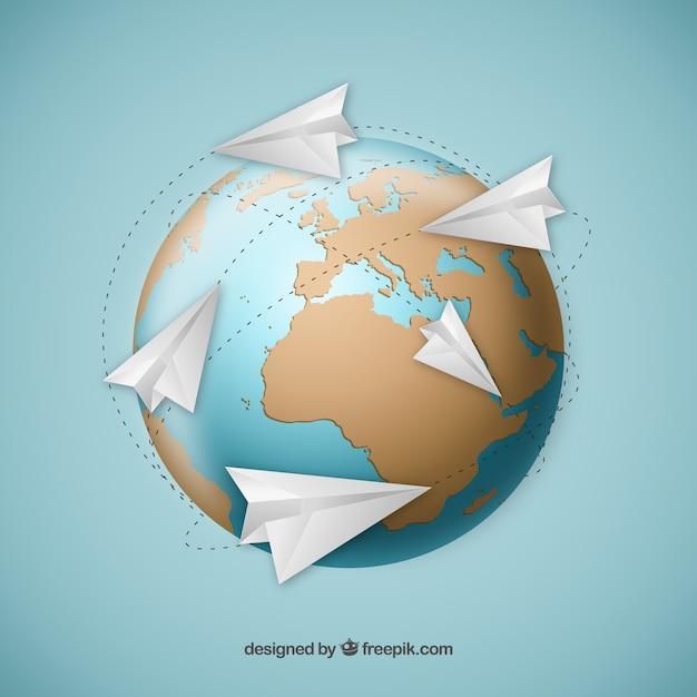 Aviones De Papel Alrededor De Mapa Del Mundo Descargar Vectores Gratis