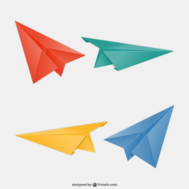 Aviones de papel de colores   Descargar Vectores gratis