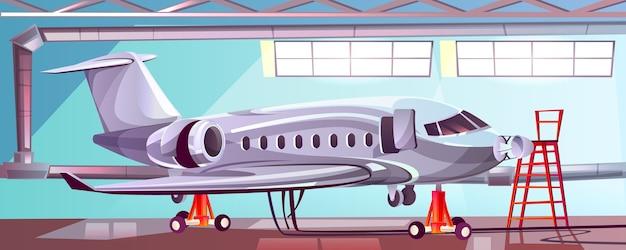 Aviones de plata en garaje mecánico. vector gratuito