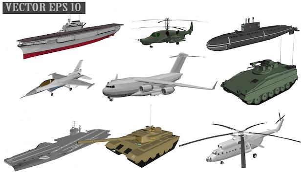 Aviones a reacción y buques de guerra para soldados. Vector Premium