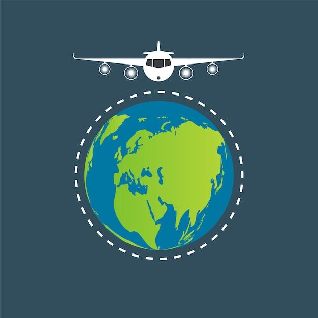 Aviones Volando Alrededor Del Mundo Vector Premium