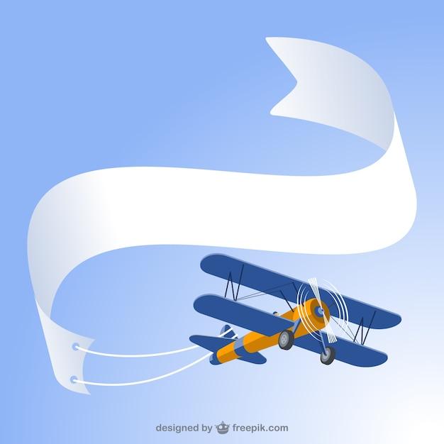 Avioneta retro con cartel vector gratuito