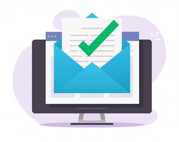 Aviso de marca de verificación de mensaje de correo electrónico aprobado en el documento en línea en la computadora de escritorio Vector Premium