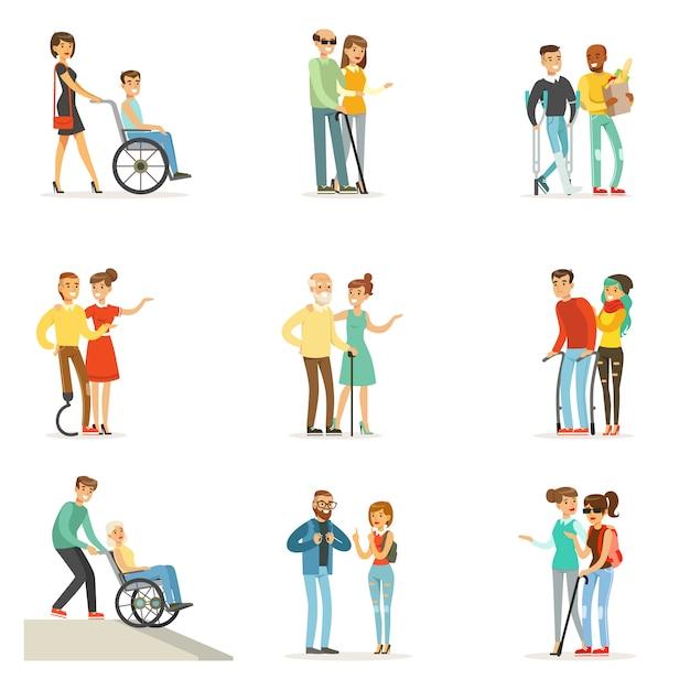 Ayuda Y Cuidado Para Personas Con Discapacidad Dibujos Animados Detalladas Ilustraciones Coloridas Vector Premium