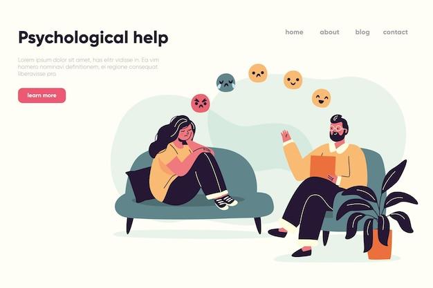 Ayuda psicológica de una landing page profesional vector gratuito
