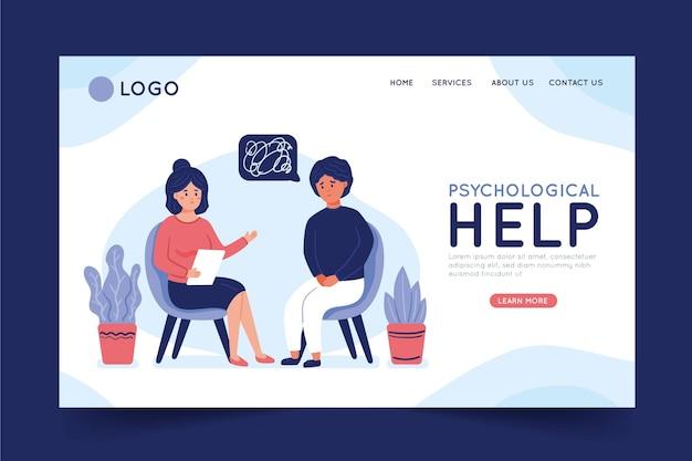 Ayuda psicológica - página de destino Vector Premium