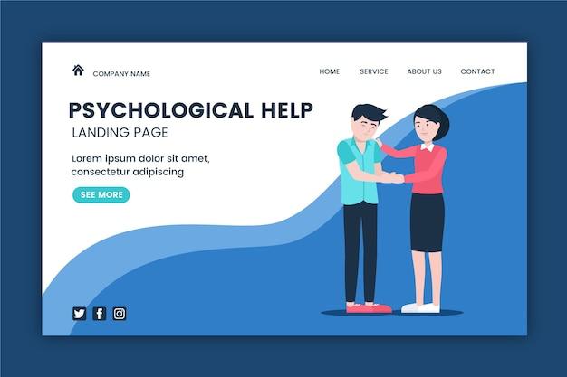 Ayuda psicológica - página de destino vector gratuito