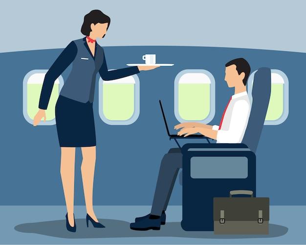 Azafata de aire sirviendo a pasajeros de primera clase en el vuelo. Vector Premium