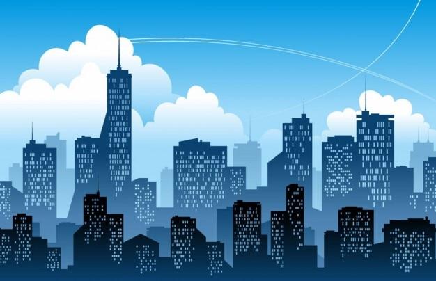 azul ciudad moderna ilustración vectorial Vector Gratis