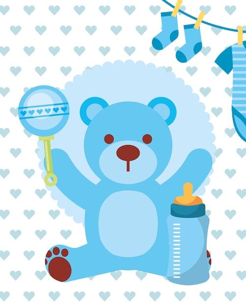 Azul juguete oso sonajero biberón y ropa niño | Descargar Vectores ...