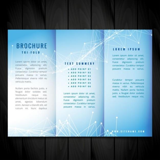 azul tr u00edptico folleto de dise u00f1o vectorial