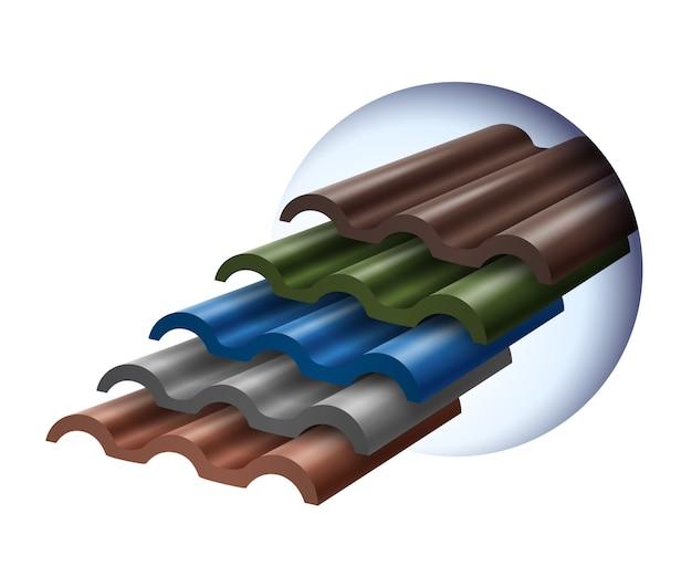 Los azulejos se apilan en varios colores que son populares. Vector Premium