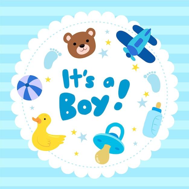 Baby boy ducha diseño vector gratuito