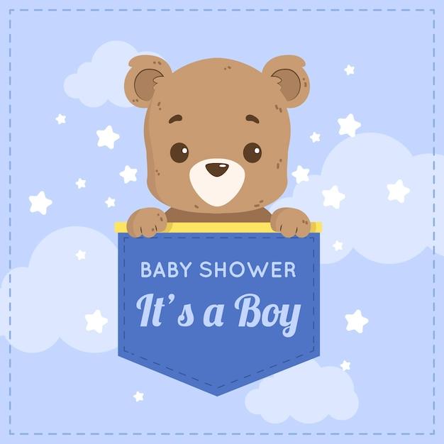 Baby boy fiesta de ducha con oso vector gratuito