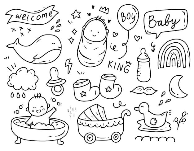 Baby boy shower party doodle conjunto de colección de dibujos Vector Premium