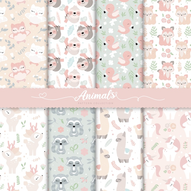 Baby girl nursery surface patterns Vector Premium