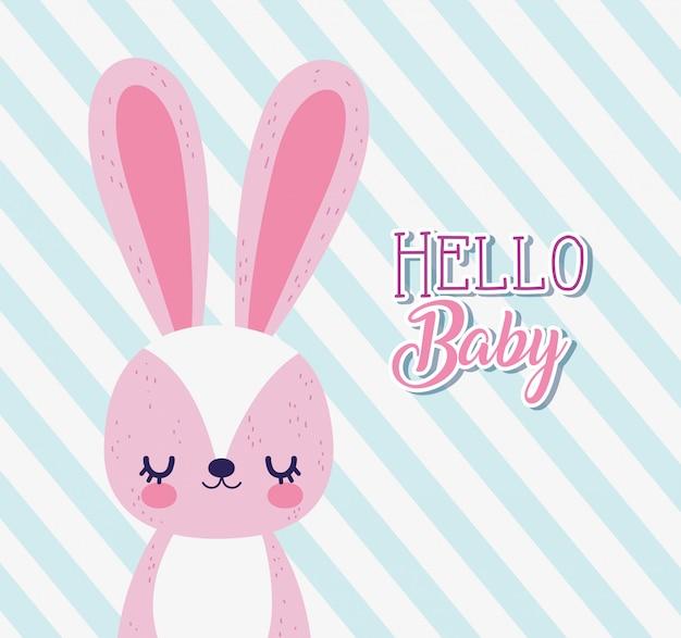 Baby Shower Amor Conejo Dibujos Animados Rayas Tarjeta De
