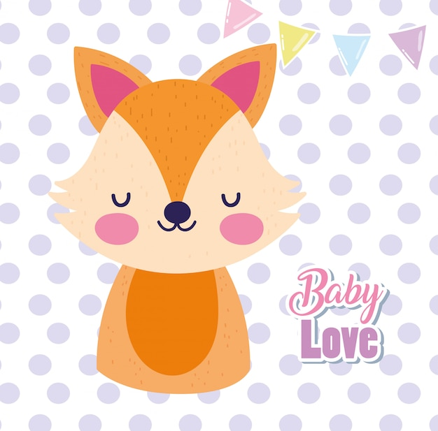 Baby Shower Amor Lindo Zorro Dibujos Animados Lunares