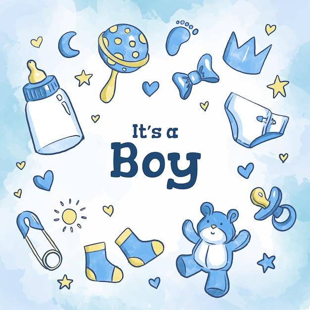 Baby shower azul niño vector gratuito