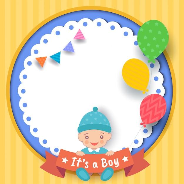 Baby-shower-boy Vector Premium