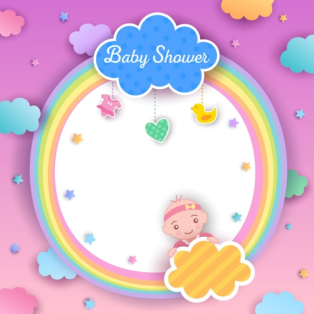 Baby shower chica arcoiris Vector Premium