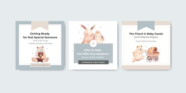 Baby shower diseño tarjeta acuarela ilustración vector gratuito