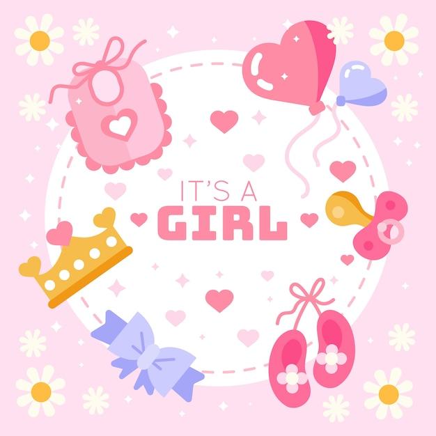 Baby shower género revelar niña Vector Premium