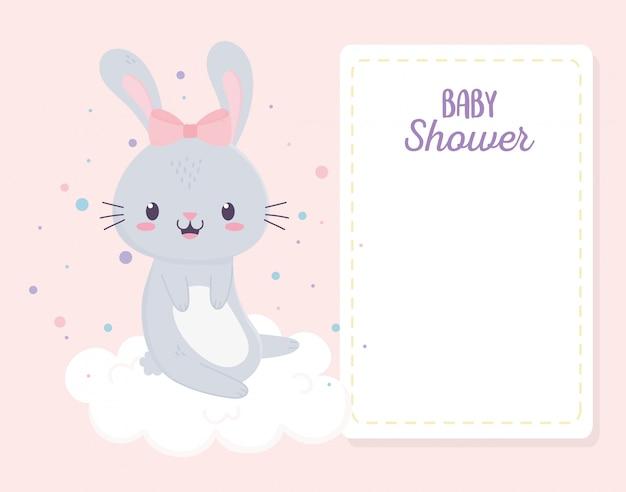 Baby Shower Linda Conejita En Nube Tarjeta De Felicitación
