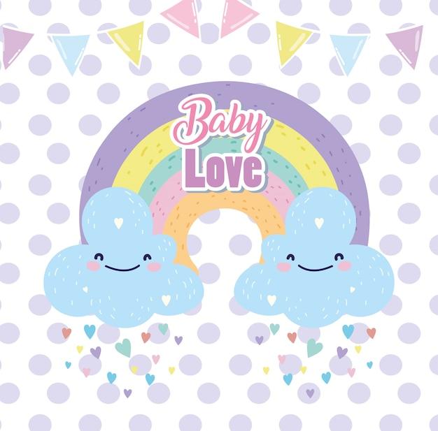 Baby Shower Lindo Arco Iris Con Nubes Lluvia Corazones Amor