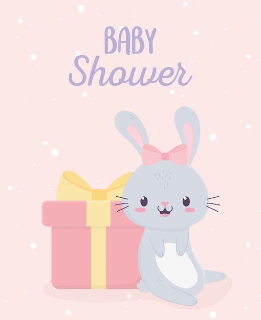 Baby Shower Lindo Conejito Y Caja De Regalo Tarjeta De