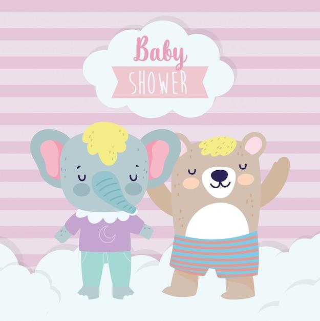 Baby Shower Lindo Elefante Y Oso Con Dibujos Animados De